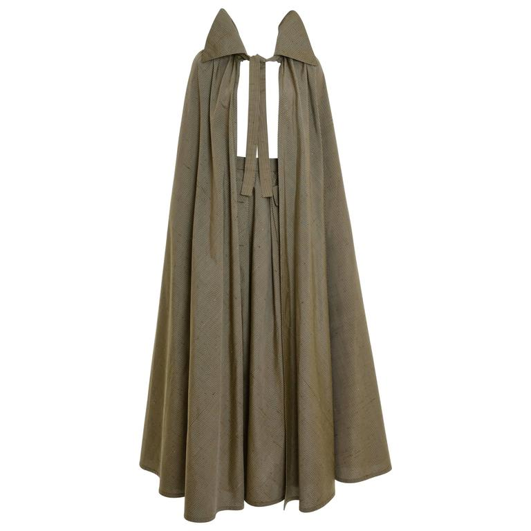 1980s Mila Schön Olive Green Long Skirt and Cape