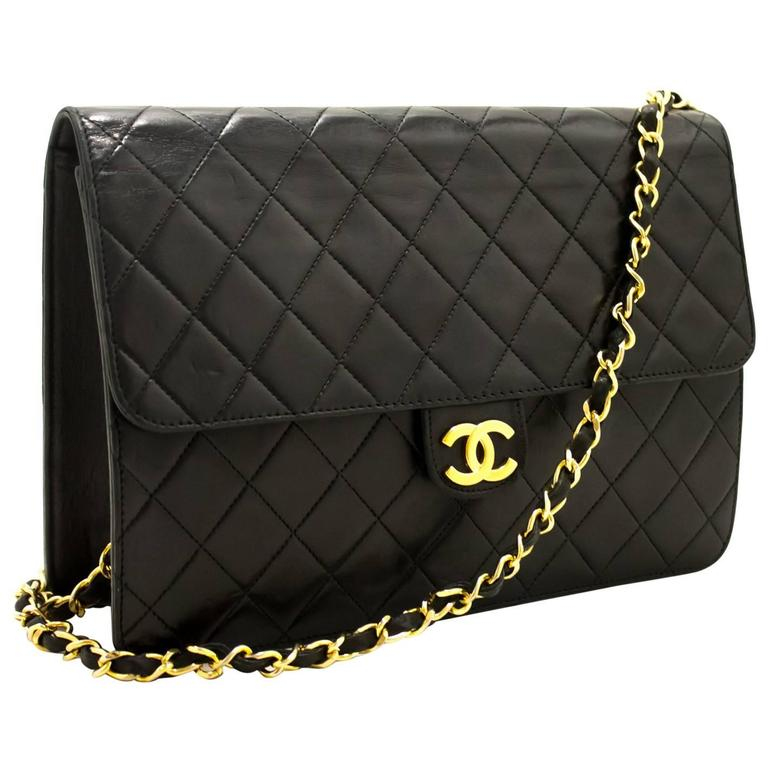 Chanel Chain Shoulder Bag Clutch Black Quilted Flap Lambskin Purse For