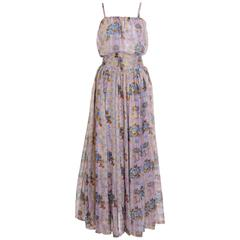 1970s ANDREA ODICINI Floral Print Skirt and Top Suit