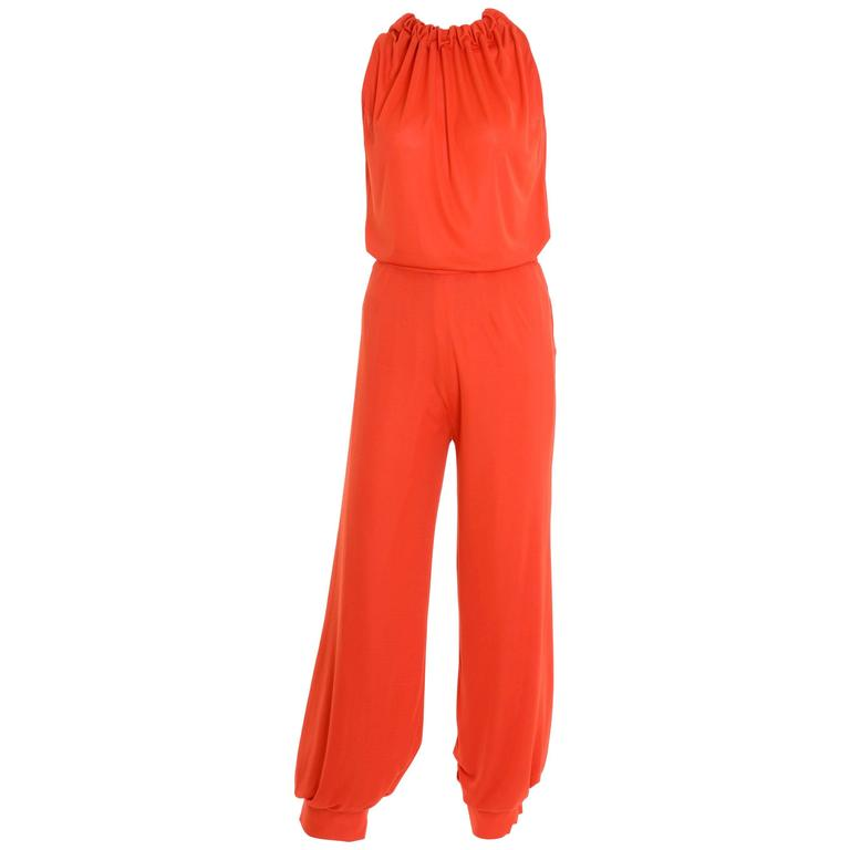 1960s 1970s GIO CARÉ Orange Pants Suit New with Tag For Sale
