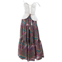 Vintage 70's Yves Saint Laurent Gypsy Skirt and Corset Top