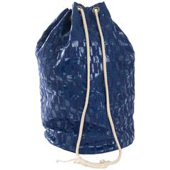 70's Hermes Sport Drawstring Bag with H Embroidery in Blue