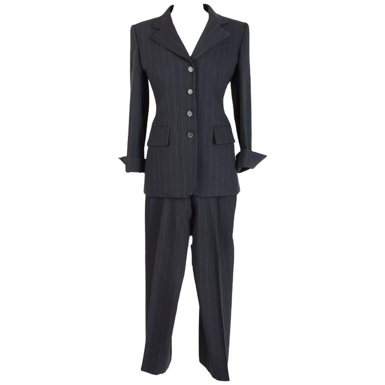 1990s Prada Gray Pinstripe Wool Jacket Suit Pants Size 40 Made Italy Women's