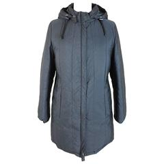 Prada Long Puffer Quilted Blue Duck Feathers Herringbone Coat Size M Women's