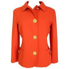 Genny by Gianni Versace Blazer Orange Wool Italian Jacket, 1980