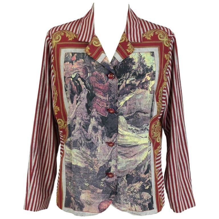 Valentino Baroque Strips Silk Red White Italian Shirt Blouse, 1990