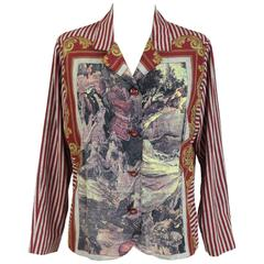Valentino Baroque Strips Silk Red White Italian Shirt Blouse, 1990