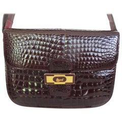 Bordeaux Crocodile Print Patent Leather Bag