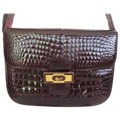 bordeaux crocodile alligator print leather bag
