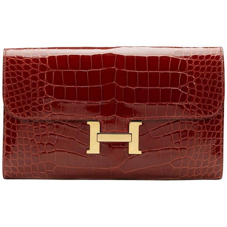 2014 Hermes Rouge H Shiny Alligator Constance Long Wallet 1