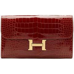 2014 Hermes Rouge H Shiny Alligator Constance Long Wallet