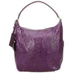 YSL Purple Leather Hobo Bag