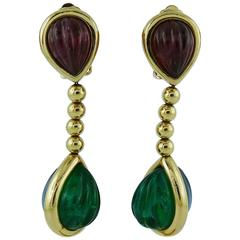 Christian Dior Vintage Faux Gems Dangling Earrings
