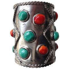 MARGUERITE DE VALOIS Silver Plated Cuff with Molten Glass Cabochons