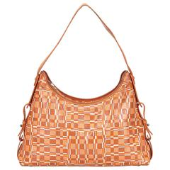 Ferragamo Orange Coated Canvas Hobo Bag