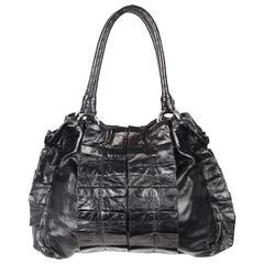 MIU MIU Black Shiny Leather Tote w/ Pleating