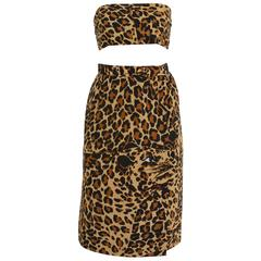 1980s YVES SAINT LAURENT Rive Gauche Leopard Print Silk Skirt with Sash