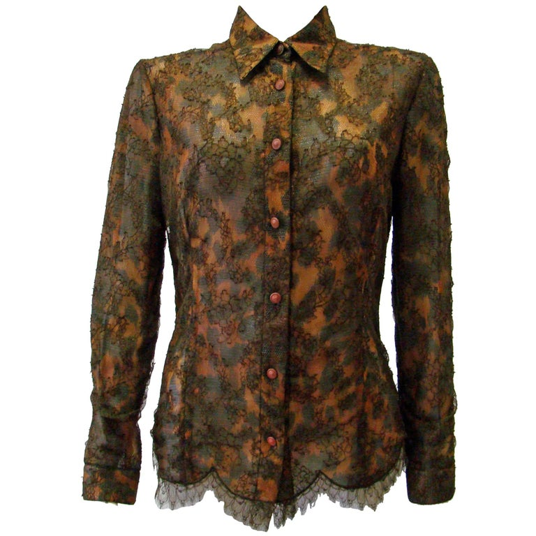 Istante By Gianni Versace Lace Sheer Silk Printed Shirt Top