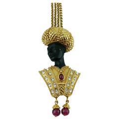Christian Dior Vintage Rare Blackamoor Pendant Necklace