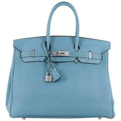 Hermes Birkin Handbag Blue Jean Togo with Palladium Hardware 35