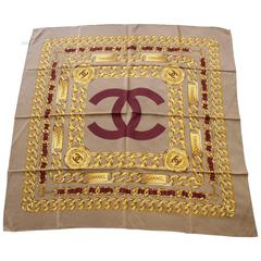 Chanel Vintage Silk Scarf with CC Logo. 35 inches