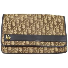Dior Vintage Monogram Canvas Clutch with Inner Zipper