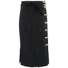 Altuzarra Black Linen Long Skirt with Side Buttons - 40