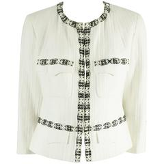 Chanel White Cotton Jacket with Black Beaded Trim - 46