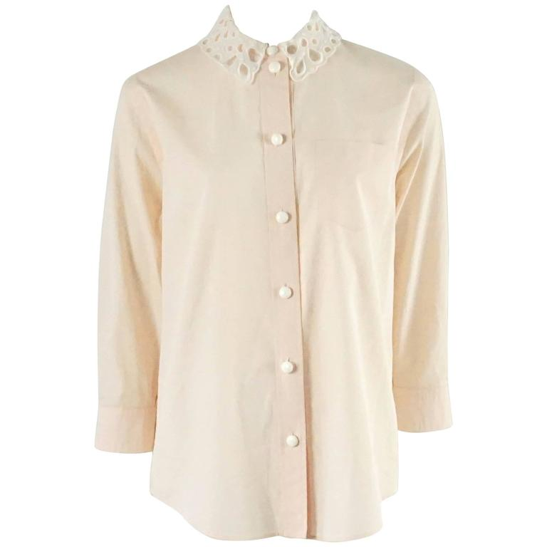 Louis Vuitton Peach Cotton Top with Removable Lace Collar - 38
