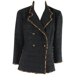 Chanel Black Wool Jacket with Amber Chain Trim - 42