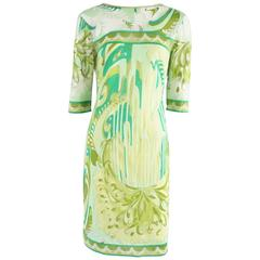 Emilio Pucci Green Printed Silk Jersey Dress with Sheer Top, Size 38