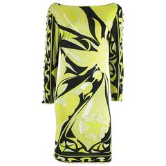 Emilio Pucci Green and Black Printed Long Sleeve Dress - 40