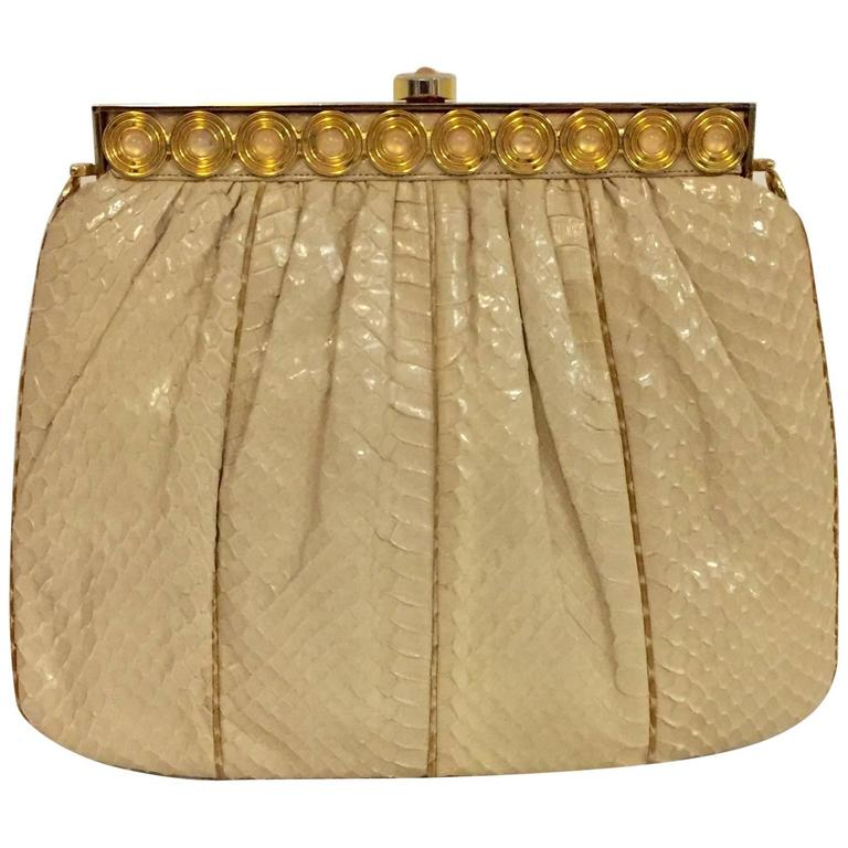 Stylish Judith Leiber Snakeskin Cream Colored Cross body  For Sale
