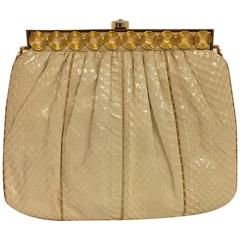 Stylish Judith Leiber Snakeskin Cream Colored Cross body