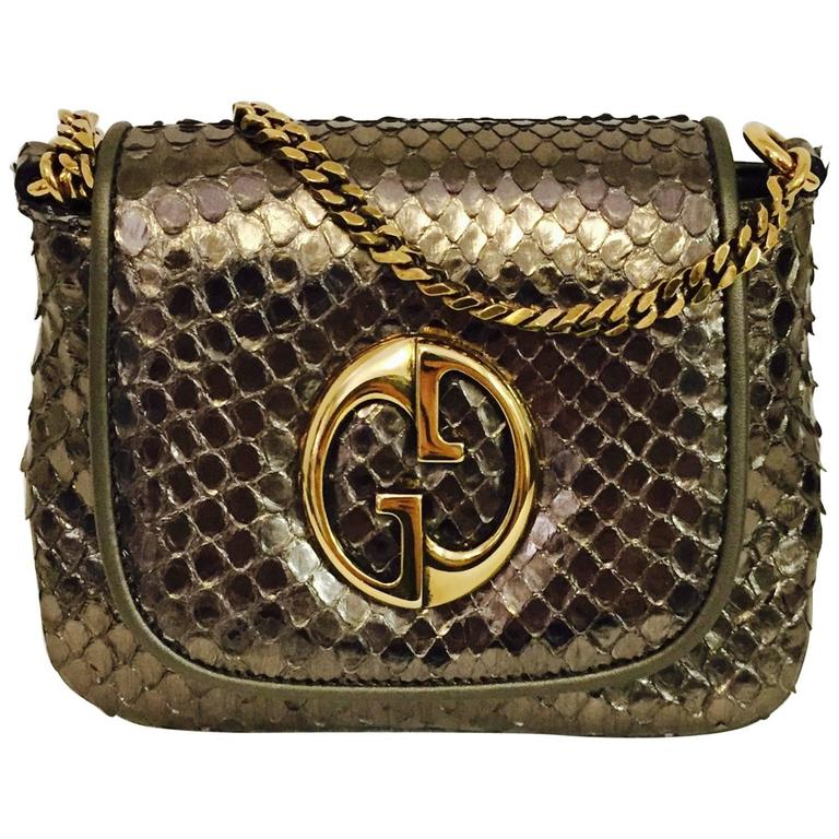 ee7ff6ef8bc Gucci Cross body Python Bag with Gold Tone Chain, 1973 at 1stdibs