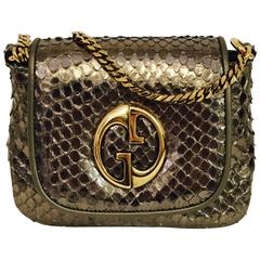 Glamorous Gucci 1973 Cross body Python Bag with Gold Tone Chain