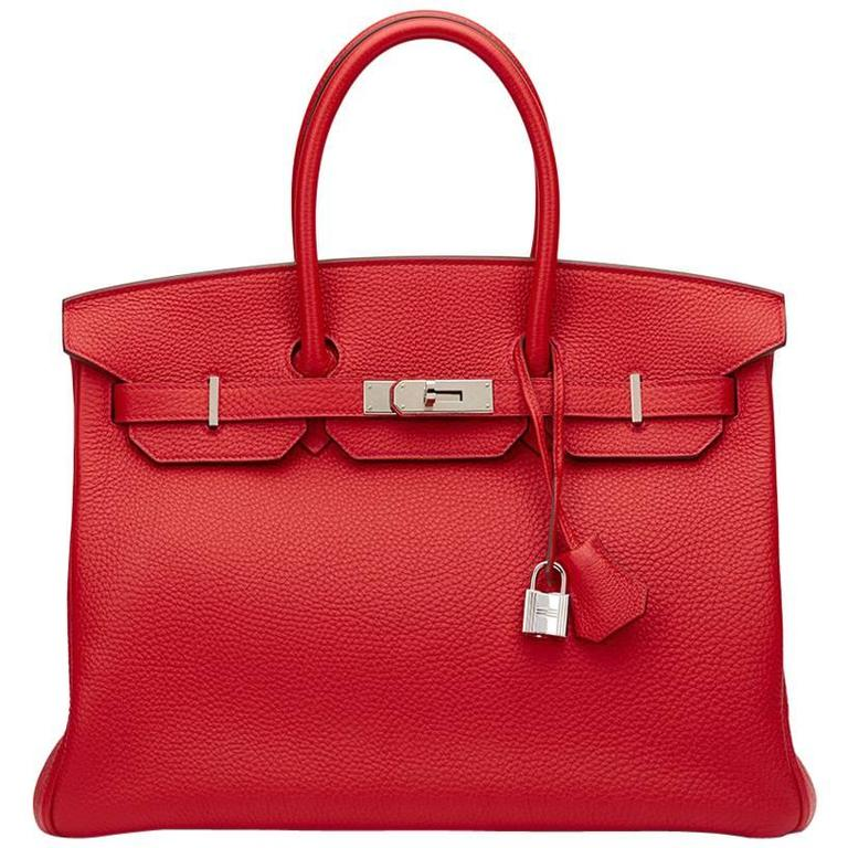 2012 Hermes Vermillion Clemence Leather Birkin 35cm For Sale