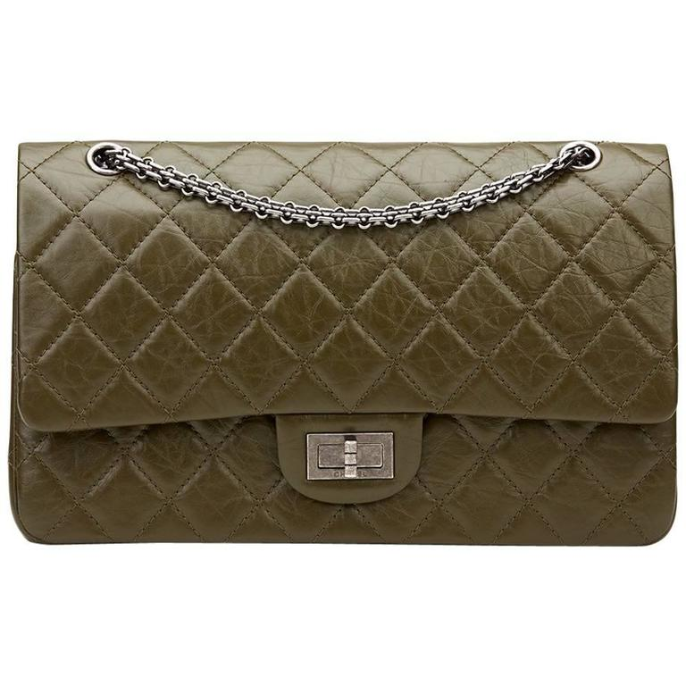 82887f07c6a904 2014 Chanel Olive Aged Calfskin 2.55 Reissue 227 Double Flap Bag For Sale