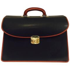 Men's Vintage Briefcase in Black & Tan by Bottega Veneta