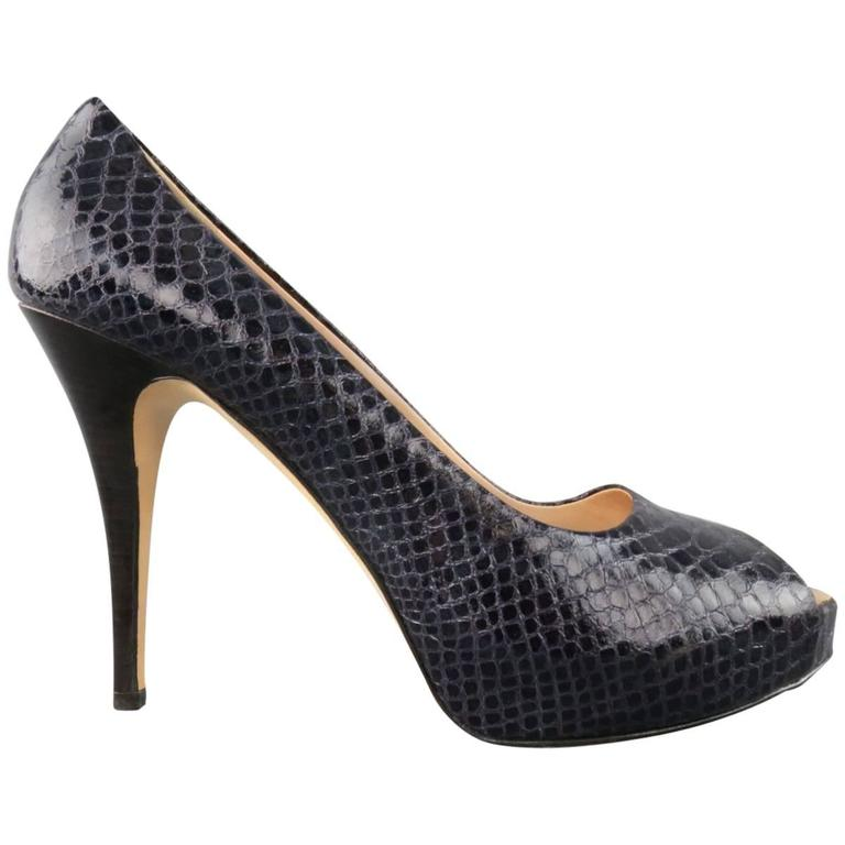 GIUSEPPE ZANOTTI Size 11 Violet Purple Peep Toe Snake Skin Platform Pumps For Sale
