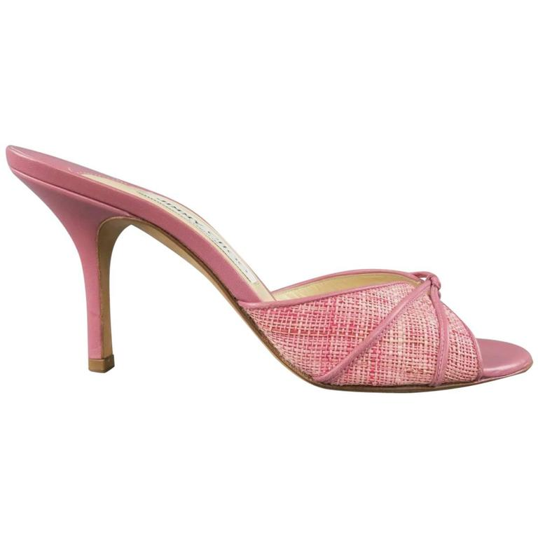 JIMMY CHOO Size 7.5 Pink Woven Raffia & Leather Open Toe Mules