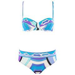 EMILIO PUCCI c.1960's Blue Signature Print Two Piece Bikini Bathing Swimsuit