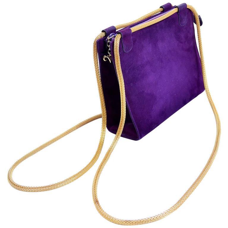 Walter Steiger Vintage Purple Suede Handbag or Evening Bag With Gold Straps For Sale