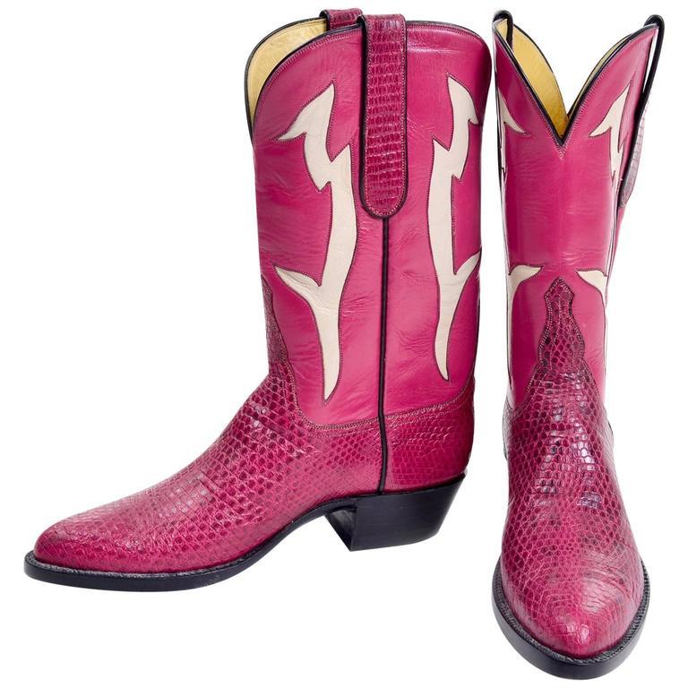 Vintage Tom Taylor Pink Cowboy Boots Santa Fe Custom Leather & Snakeskin