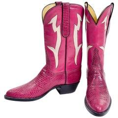 Vintage Tom Taylor Pink Cowboy Boots Santa Fe Custom Leather & Snakeskin 7