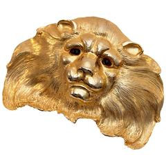 Christopher Ross Huge Lion Head Belt Buckle 24ct GP Statement Piece 7in 80s
