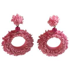 20th C Cellulose Bubbleite Pink Ruffled Open Circular Clup on Drop Earring