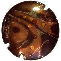 Sascha Brastoff Modernist Biomorphic Enamelled Metal Ashtray/Pin Dish