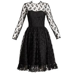 Bill Blass Vintage Sheer Black Lace Dress