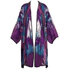 Judith Ann Vintage Sequin + Beaded Silk Kimono Jacket or Duster